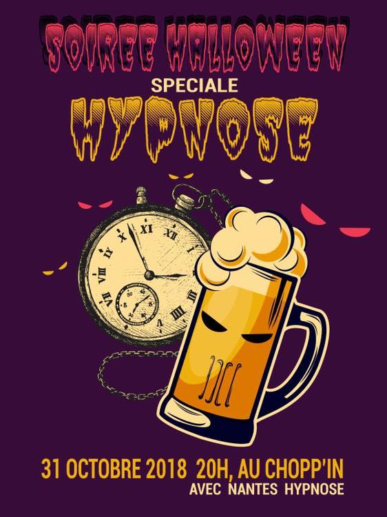 Affiche de soirée hypnose spéciale au Chopp'in bar